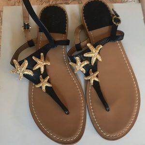 C.Wonder Navy/Gold Sandals